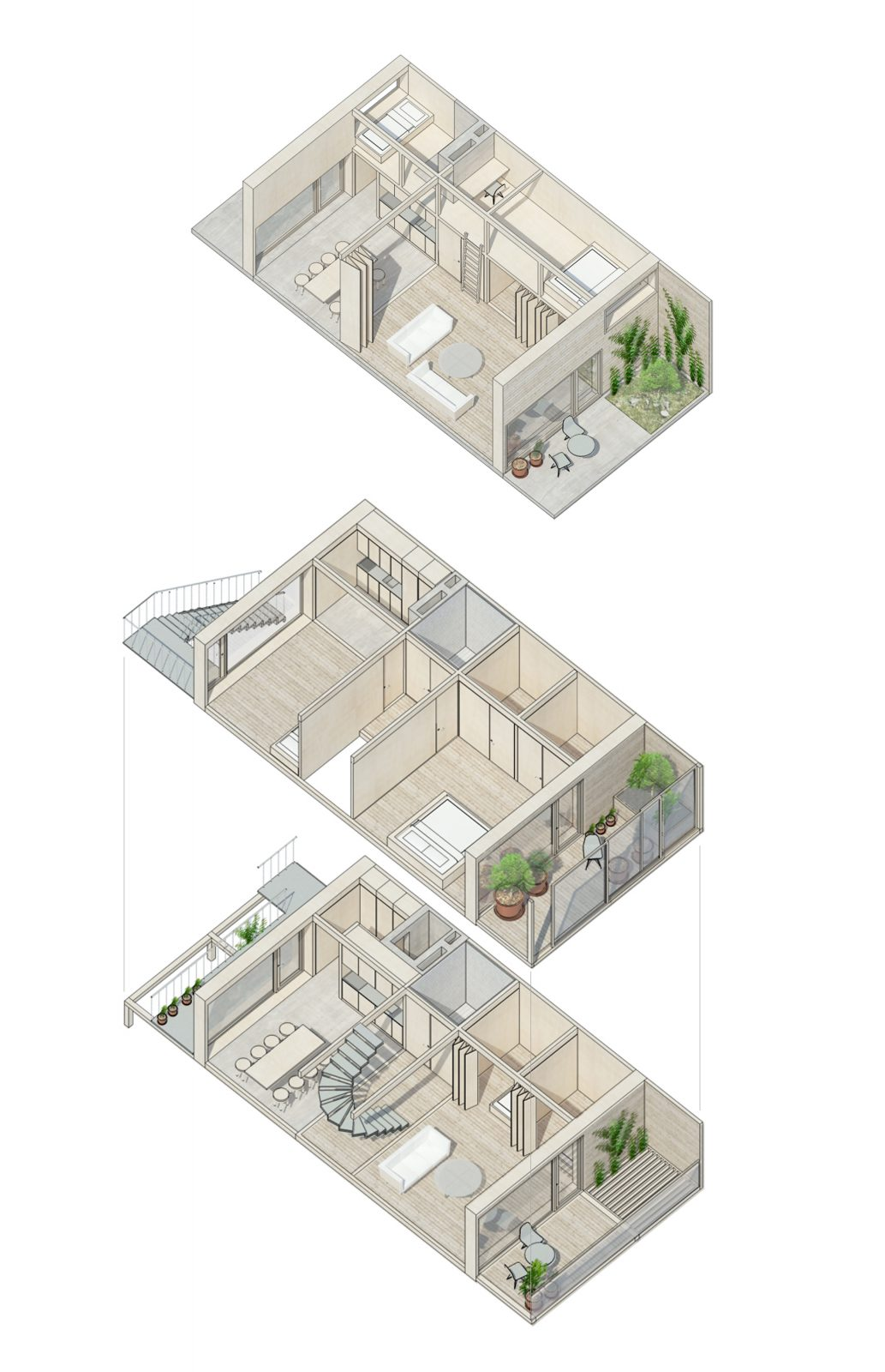 Row-house apartment with-lines