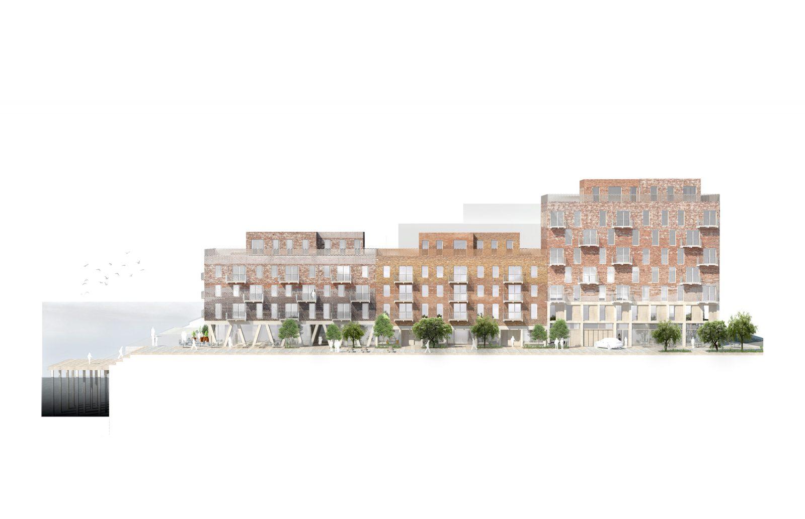 KjellanderSjoberg Oceanhamnen fasad-ost sektion 3600x2324px